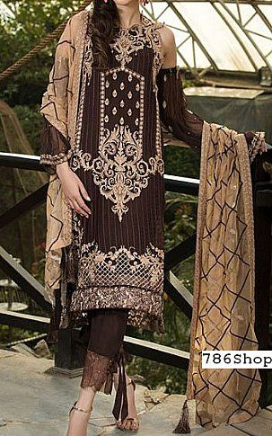 f5db75220c Dark Brown Crinkle Chiffon Suit | Buy Motifz Fashion Dress