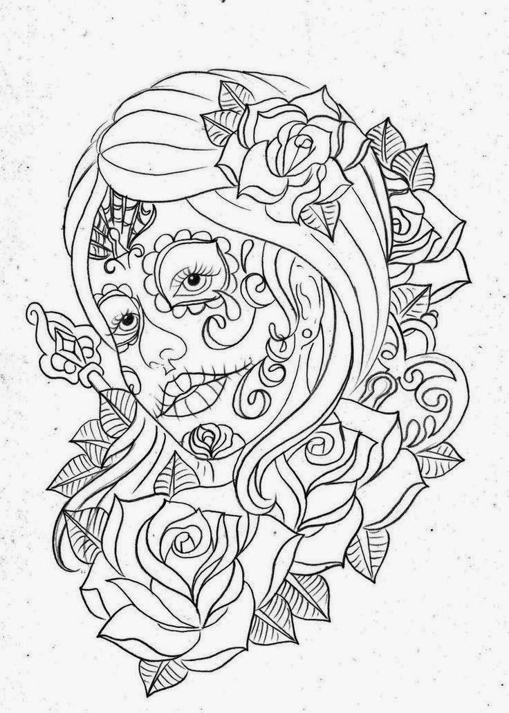 Day of the Dead Girl Tattoo Stencils