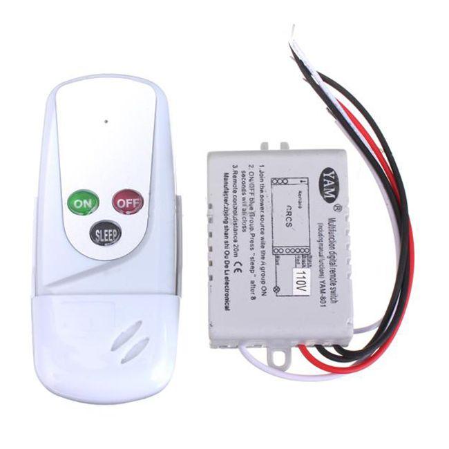 2pcs wireless 1 way on off 110v light lamp digital wall on wall control id=19518