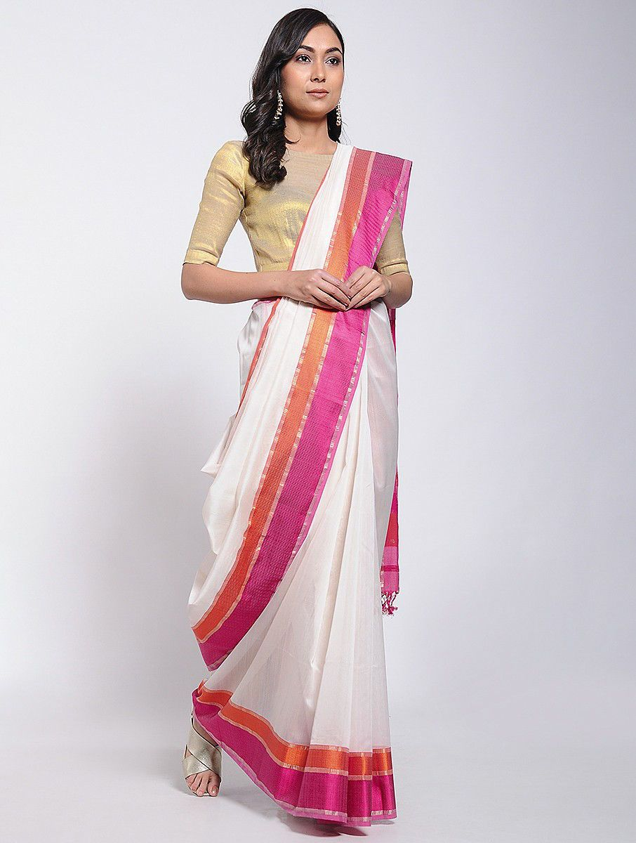 85aba4964e Buy Ivory Pink Red Chanderi Saree with Zari Cotton Silk Sarees Woven  Resplendence laced colorful for special evenings Online at Jaypore.com