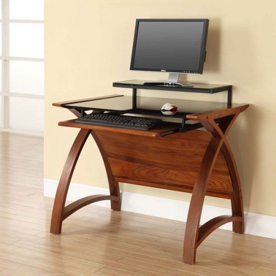 All Wood Office Desk: Cohen Curve Computer Desk Small In Black Glass Top And