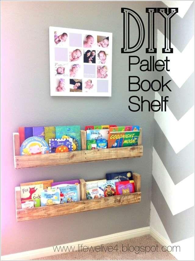 Love This Idea Book Shelf For Nursery Kids Diy Pallet Bookshelves
