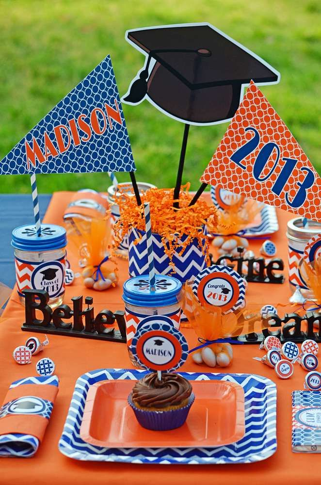 Orange/blue Graduation/End of School Party Ideas | Photo 1 of 40 | Catch My Party