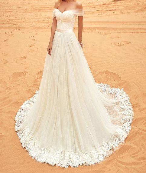 Off The Shoulder Ivory Tulle Beach Wedding Dress