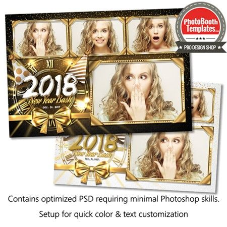 ring in the new year with this festive template complete with a golden clock ribbon radiating lights luxurious sparkling metallic frames fancy text