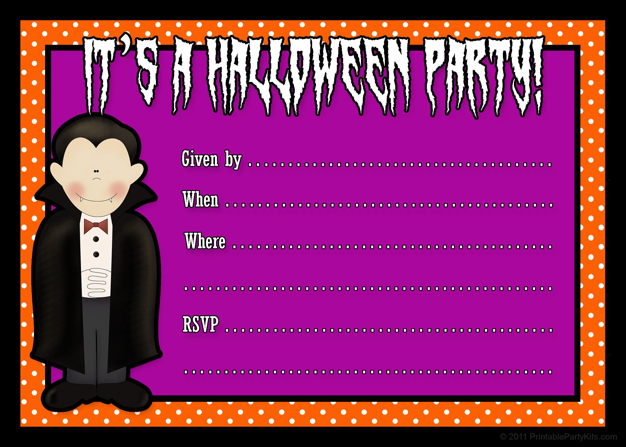Halloween Party Invitations to Printable | Click on the printable ...