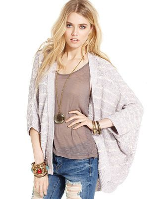 Free People Sweater, Three-Quarter Striped Cardigan - Sweaters - Women - Macy's