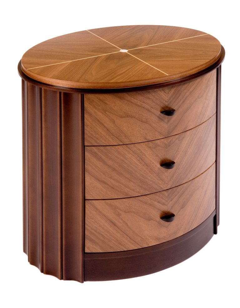 Macar Ebony Oval Bedside Table Shilou Furniture