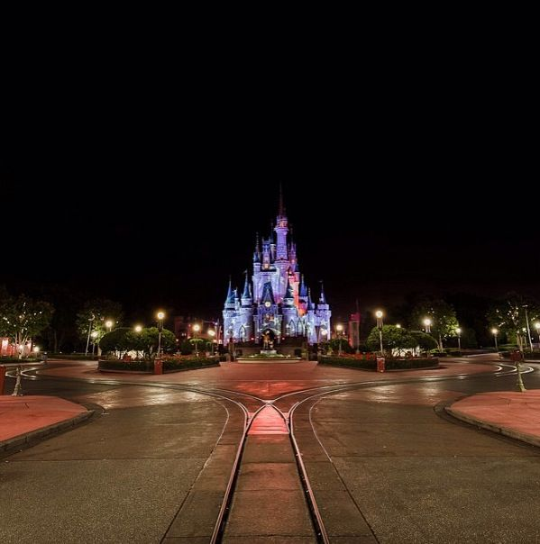 Cinderella's Castle at closing time.