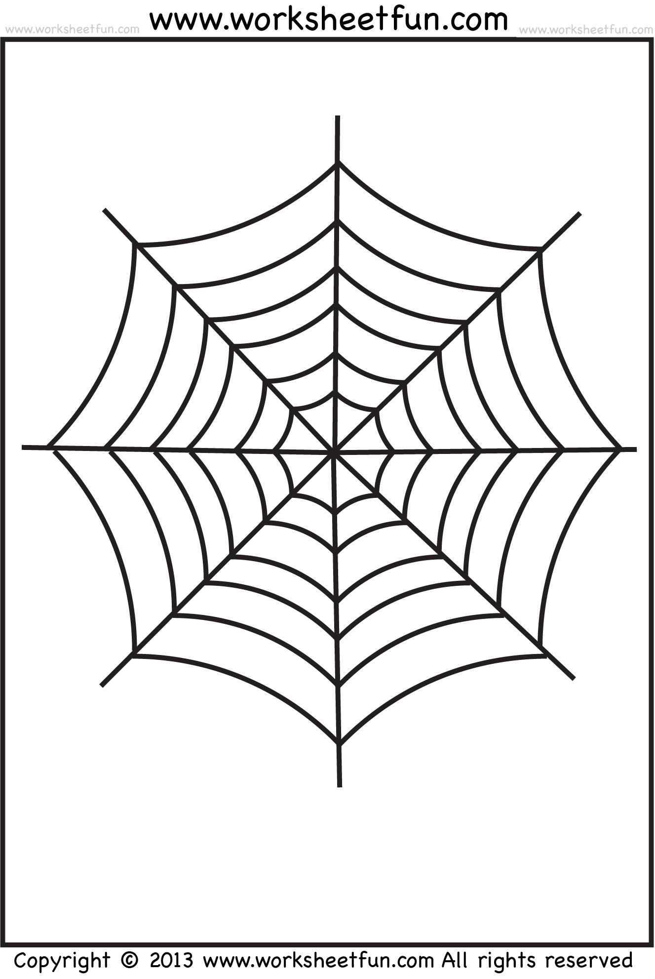 Spider Web Tracing And Coloring 2 Halloween Worksheets Free