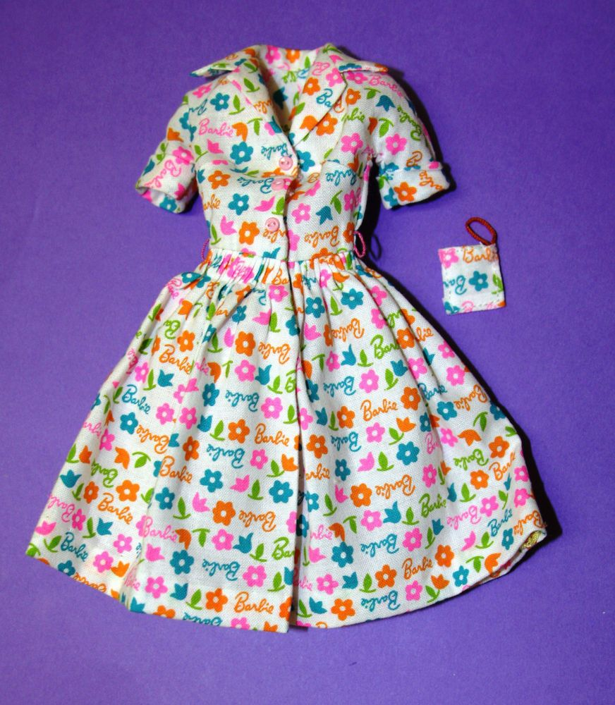 Vintage BARBIE Reproduction #1634 LEARNS TO COOK Dress with Pot Holder REPRO #Mattel