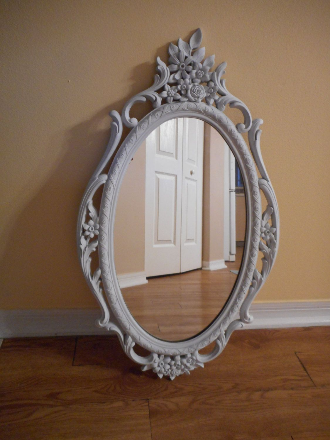 Sold Authentic Vintage Large 1965 Victorian Floral Syroco Mirror 5114 White Ornate Wall Mirror Chippy Painted Shab Shabby Chic Beach Vintage Large Mirror