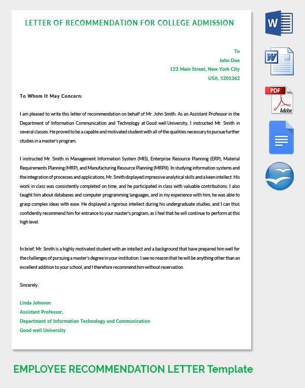 Letter of Recommendation for College Admission LEVAN Pinterest - sample college recommendation letters