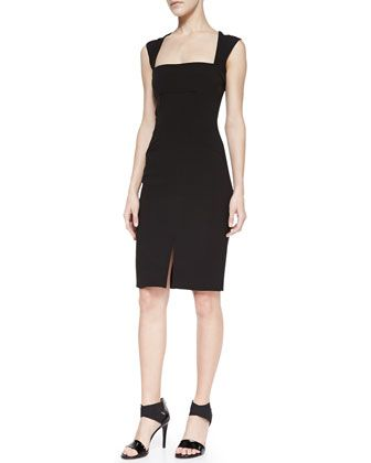 Square-Neck Sheath Dress With Front Slit by L\'Agence at Neiman Marcus.