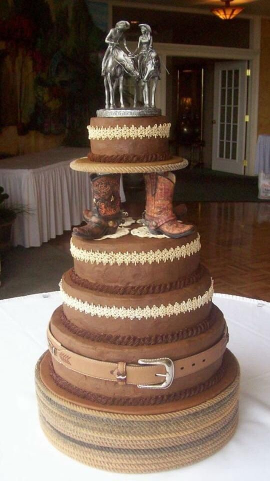 So awesome.. Country/western wedding cake