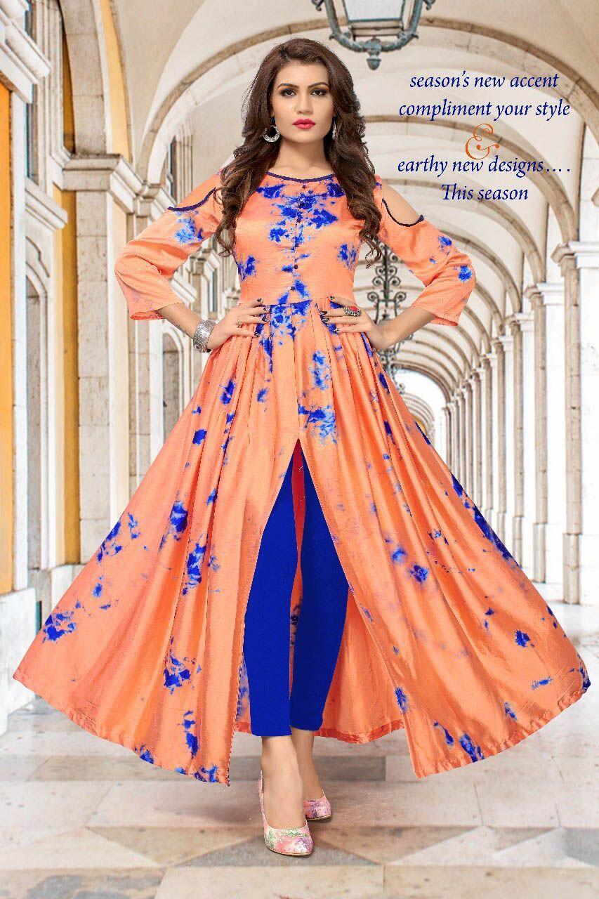 e6b0664f7d3 Buy Fashion Zonez Peach Satin Silk Shibori Print Kurti Online at Low prices  in India on
