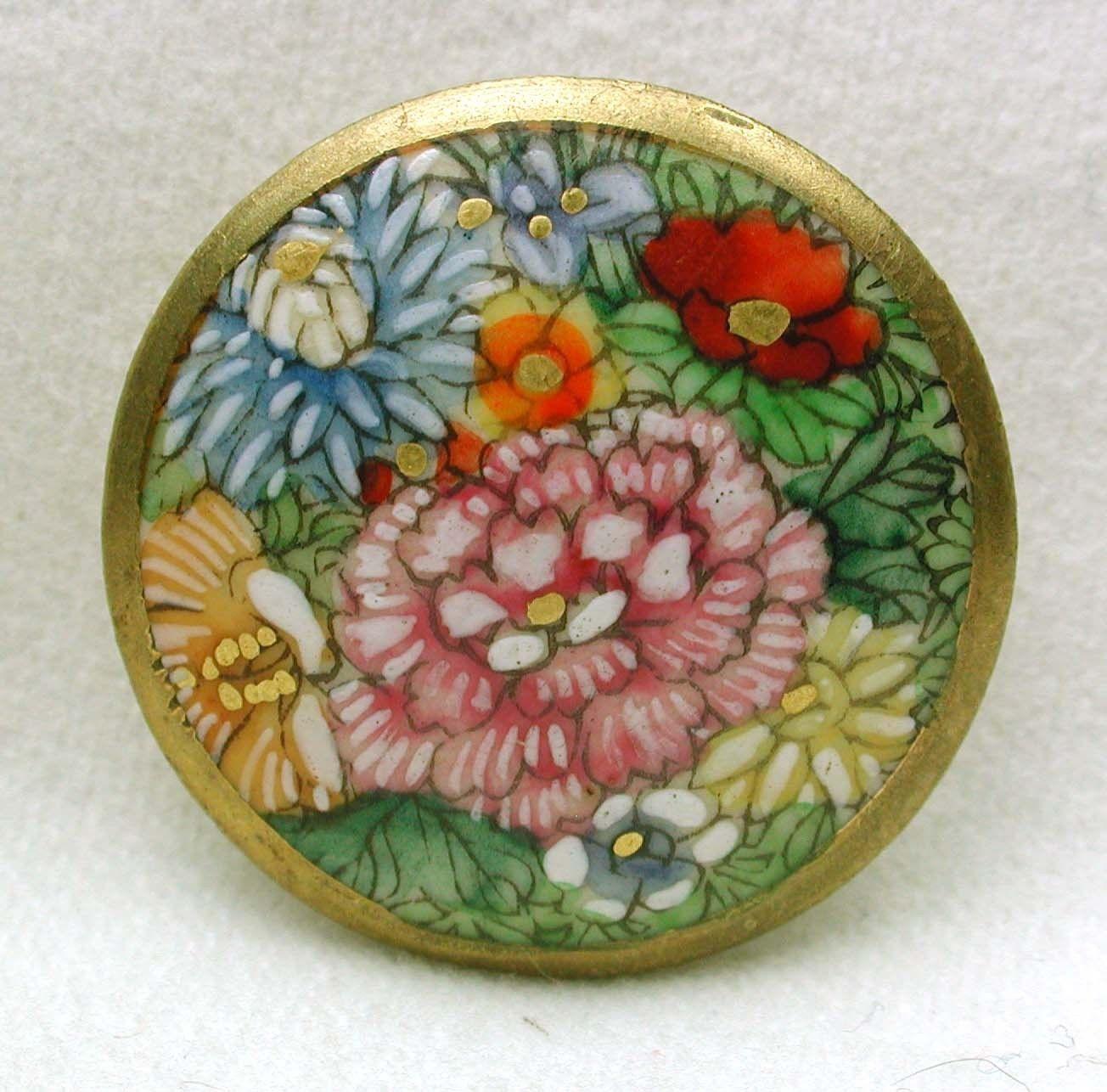 Vintage Satsuma Button Multiple Colorful Flowers W/ Gold