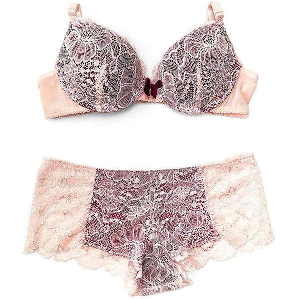 René Rofé Ivory & Burgundy Sweet Surrender Push-Up Bra & Hipster ($8.29) ❤ liked on Polyvore featuring intimates, bras, underwire push up bra, padded bra, padded underwire bra, push-up bra and rene rofe bra