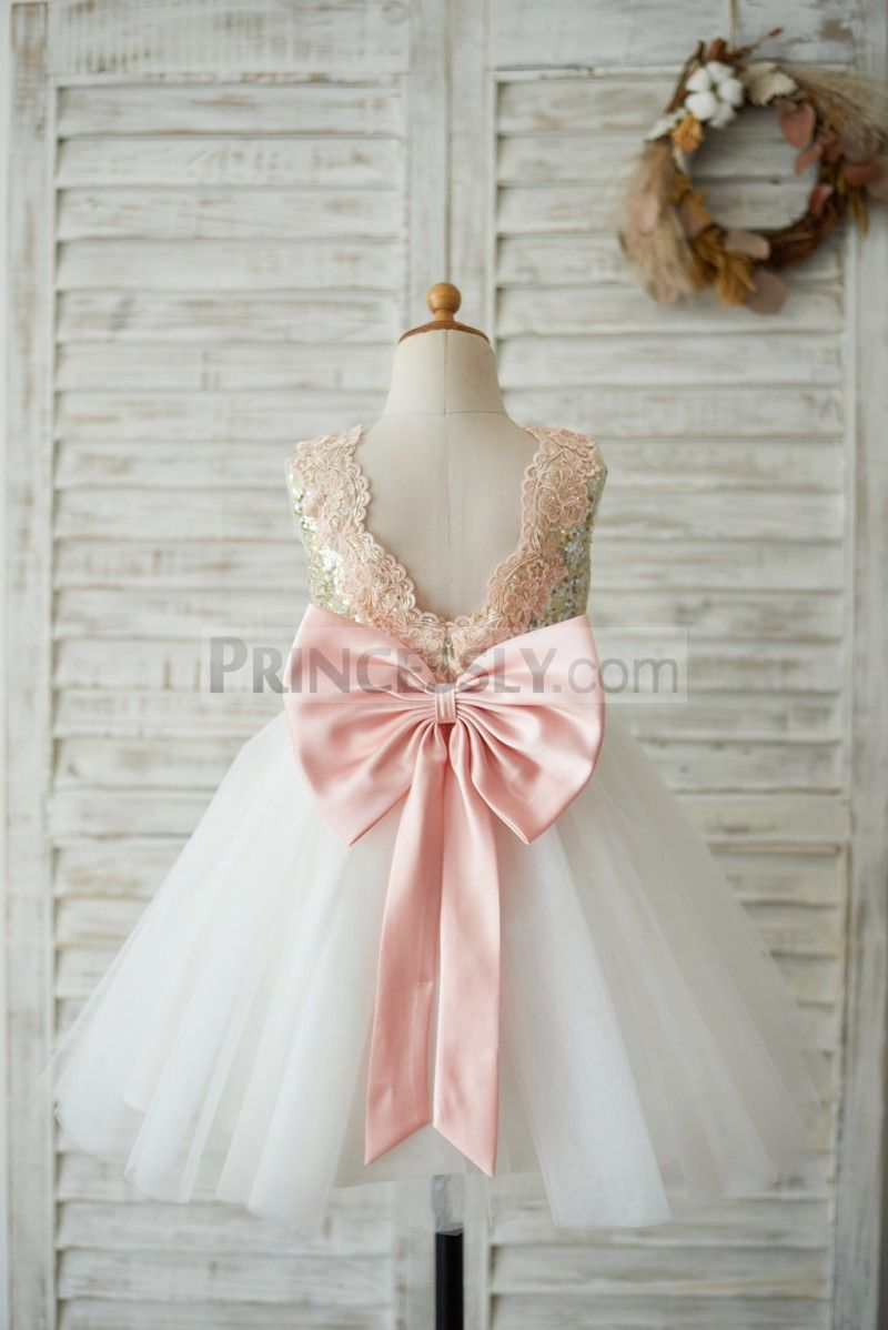 Gold Sequin Ivory Tulle V Back Wedding Flower Girl Dress