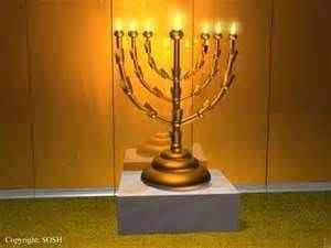 "After washing their hands/feet at the Laver, the priests could enter the Holy Place, which was the first room in the tent of the tabernacle. There were 3 pieces of furniture in the Holy Place: the Menorah, the Table of Showbread and the golden Altar of Incense.  The Menorah, also called the ""golden lampstand"" or ""candlestick,"" stood at the left side of the Holy Place. It was hammered out of one piece of pure gold. There were no specific instructions about the size of the Menorah."