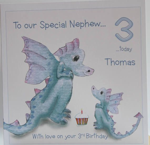 Lovely Personalised Handmade Dragons Birthday Card Nephewniece