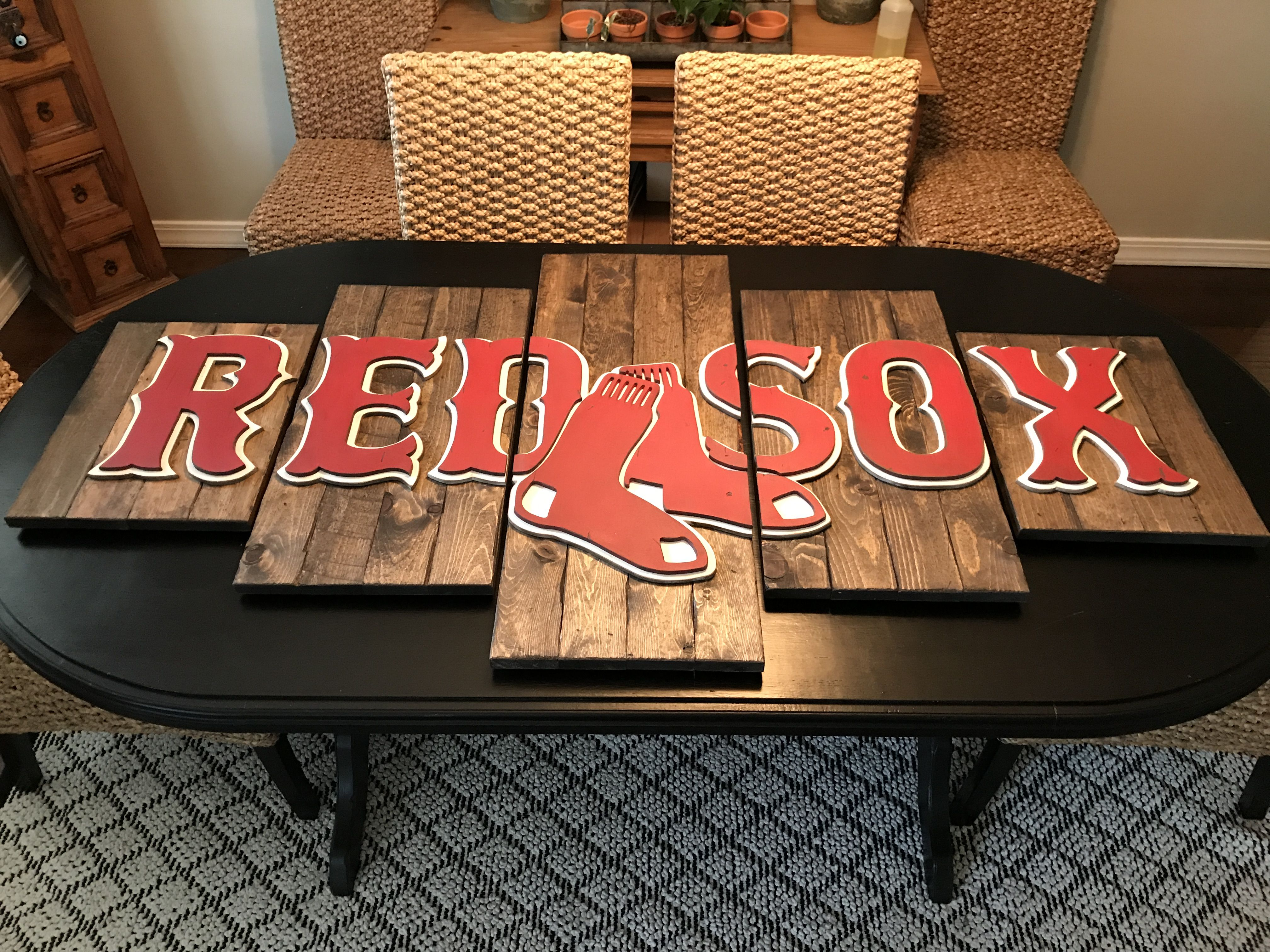 Boston Red Sox Wood Sign Decor 3 D Logo Hand Made By Kate Hall Custom Woodworking Customwoodworkinglogos