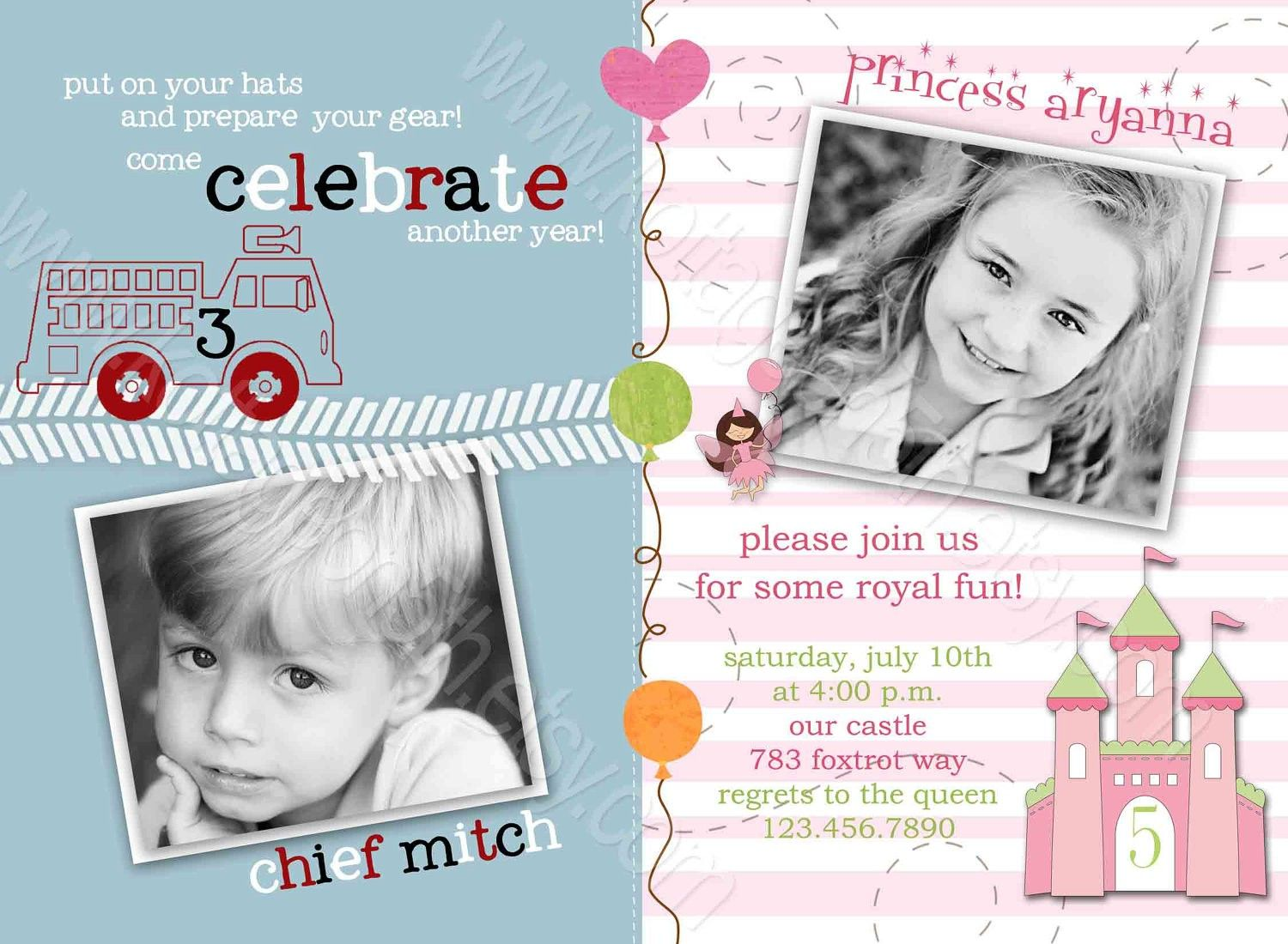 Boy And Girl Combined Birthday Invitations Joint Birthday Party