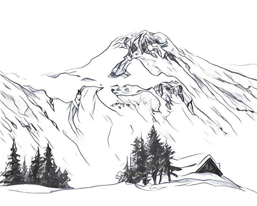 Dibujos para colorear para adultos Montañas nevadas | Paisajes ...