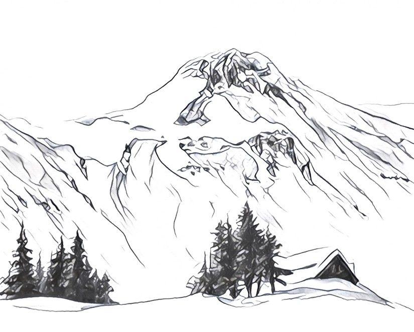 Dibujos Para Colorear Para Adultos Montañas Nevadas Arte