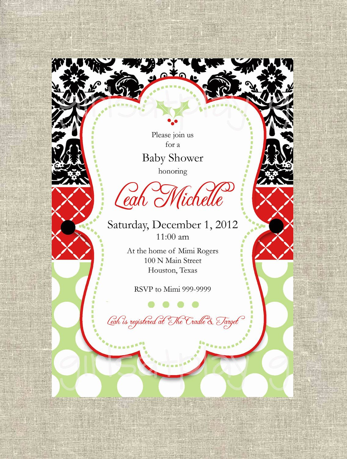 Christmas Baby Shower Invitation Holly Damask Red Green Digital - by ...