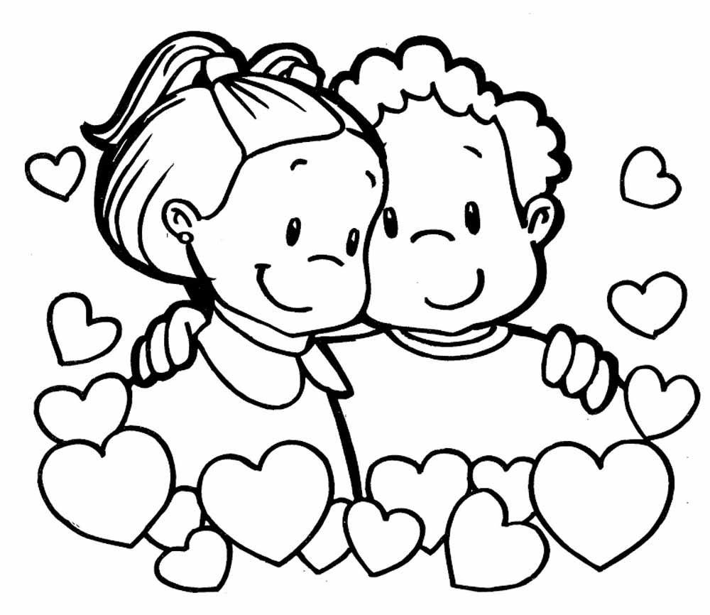 Nios felices enamorados para san valentin  Imagen para colorear
