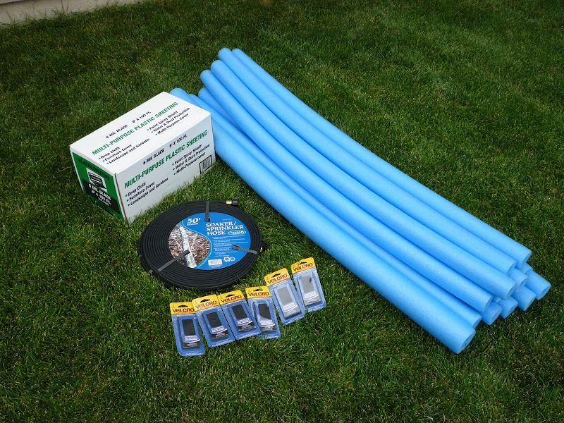 Build your own water slide w/pool noodles, plastic tarp