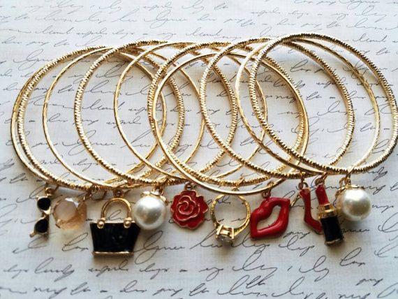 Stackable Charm Bracelets 10 Set Https Www Etsy Listing 510253831 Gold Bangle