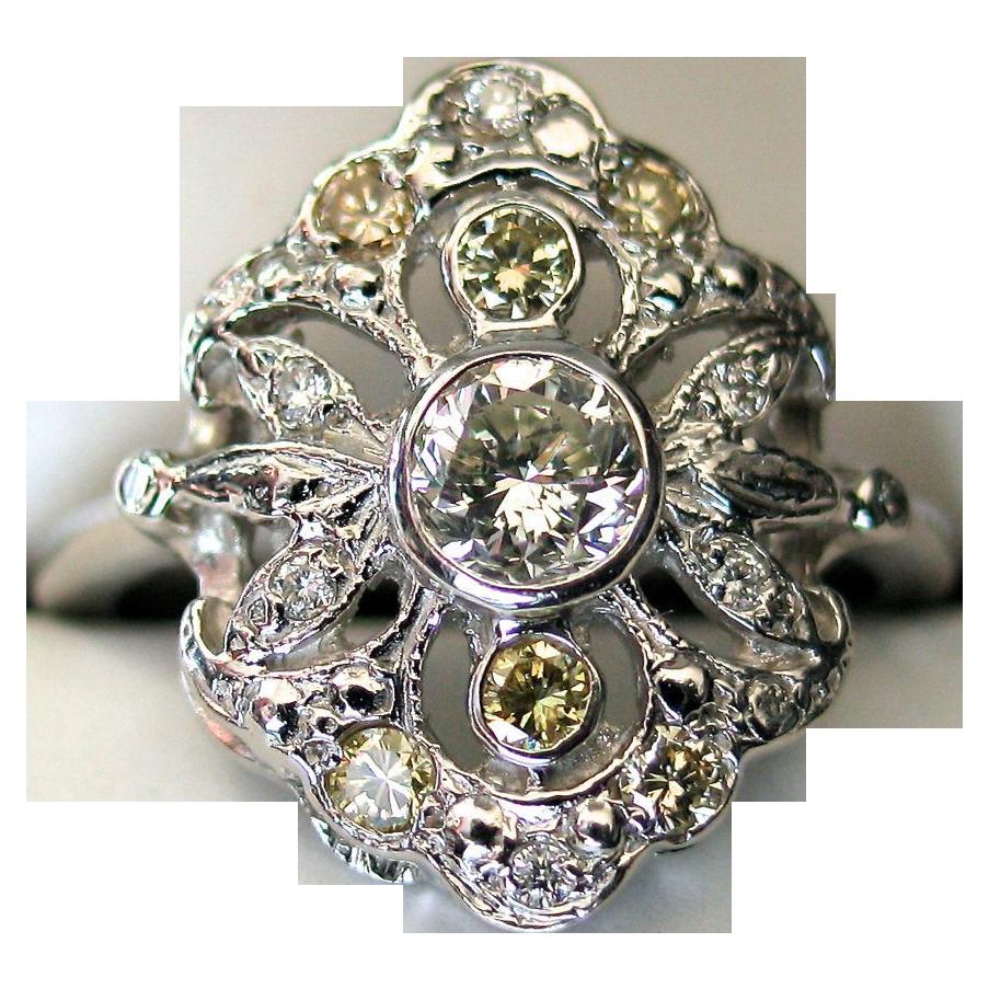 Art Deco Ring with 1ct of Yellow & White Diamonds set in Platinum