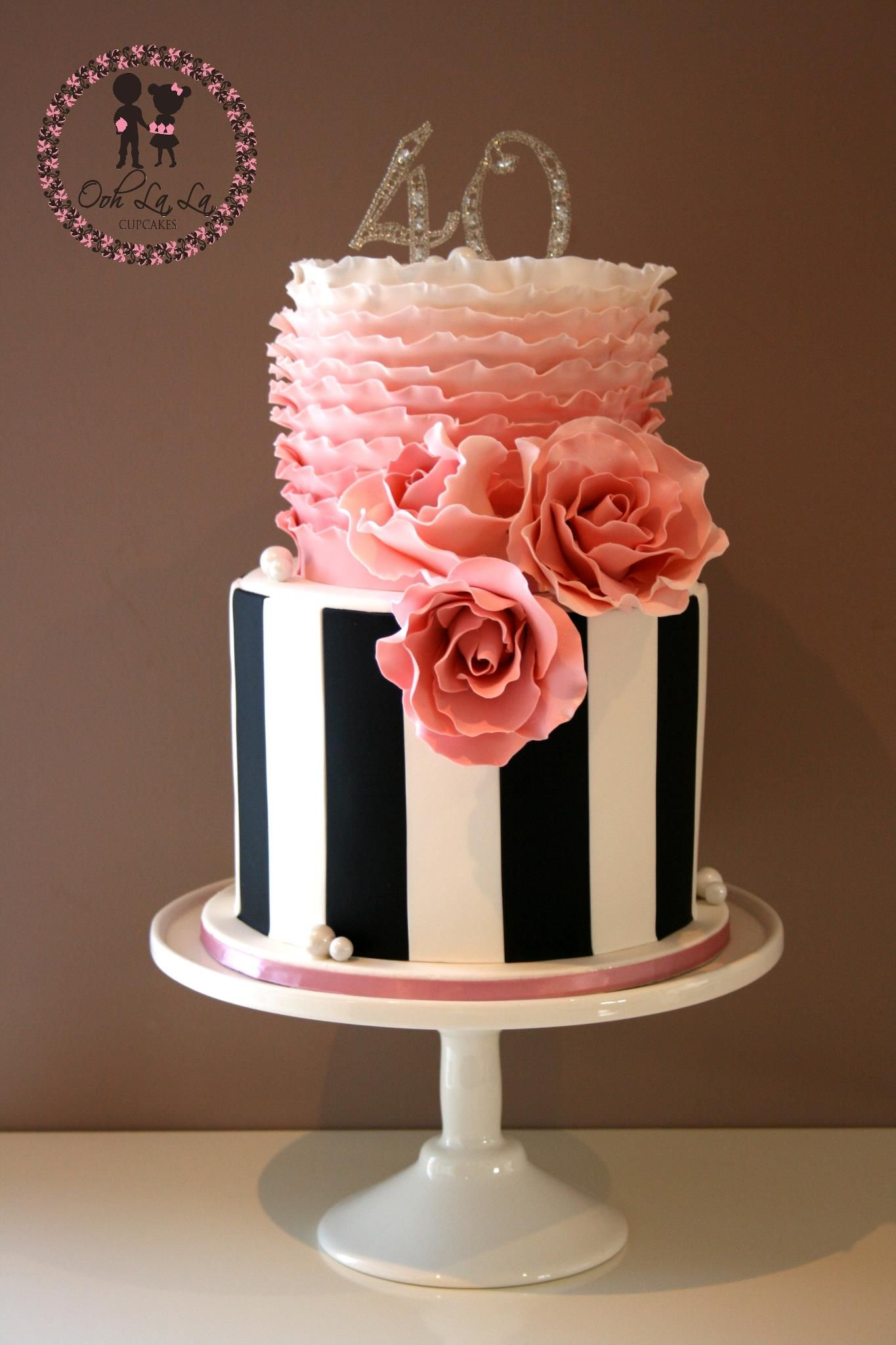 Black And White With Pink Cake Cake Decorating Pinterest Cake