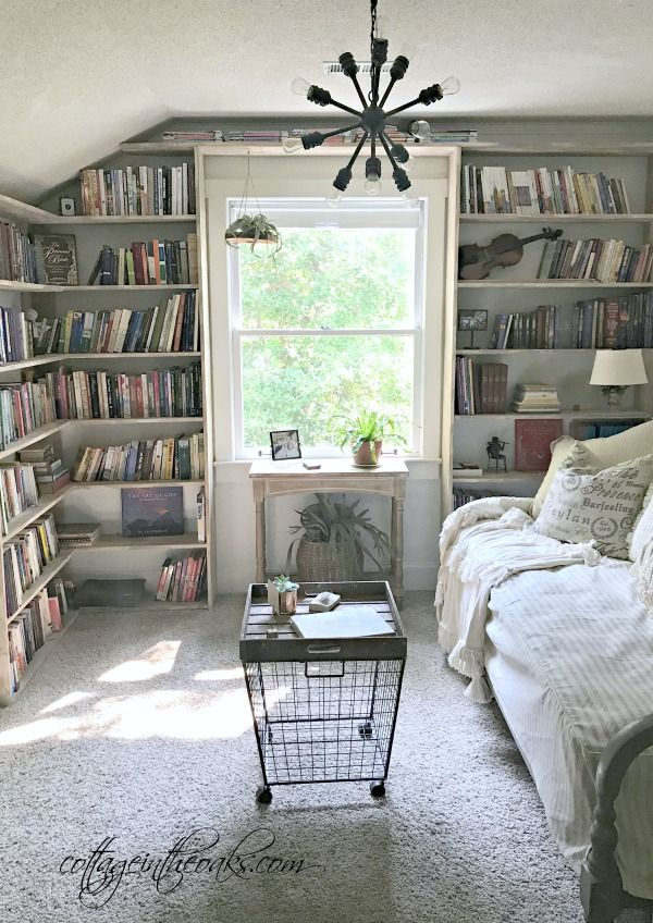 Cottage Home Library: Cottage Library Guest Bedroom
