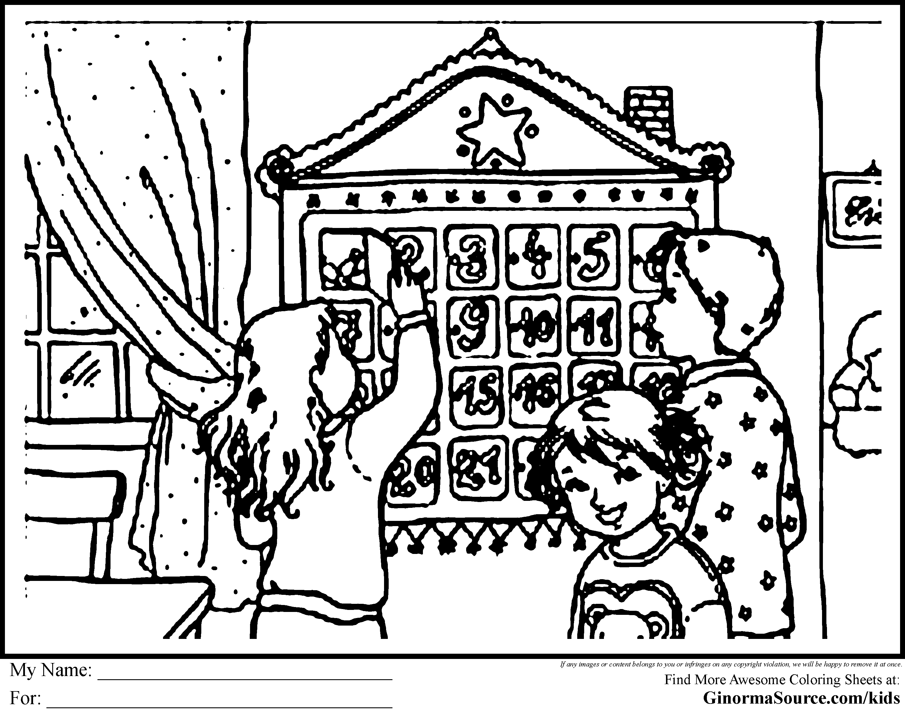 Advent Calendar Coloring Pages - GINORMAsource Kids ...