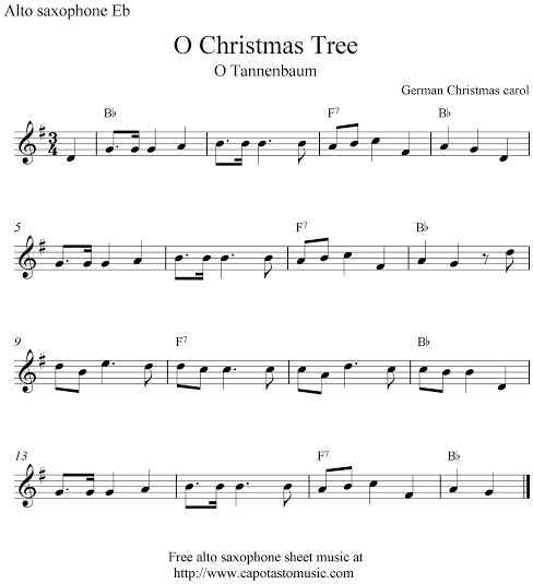 The Song Oh Christmas Tree: Saxophone Sheet Music, Piano
