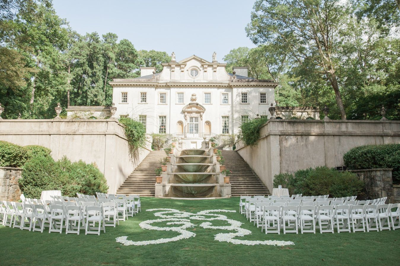Elegant historic swan house lawn wedding in atlanta swan