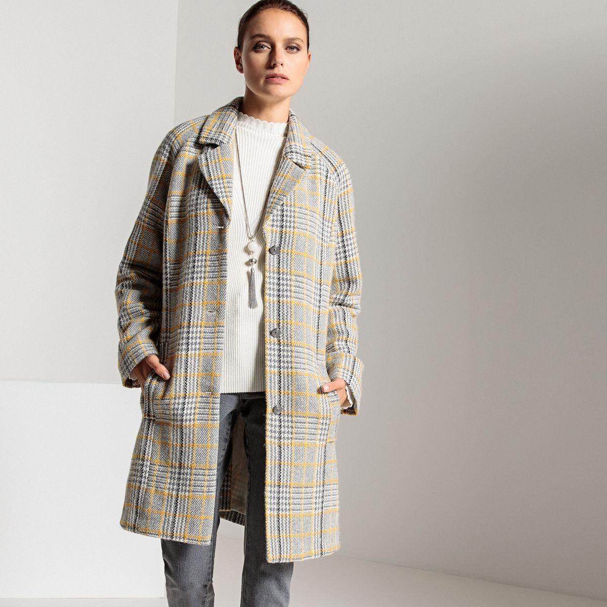 Manteau Ample Mi Long à Carreaux Taille 50 Manteau