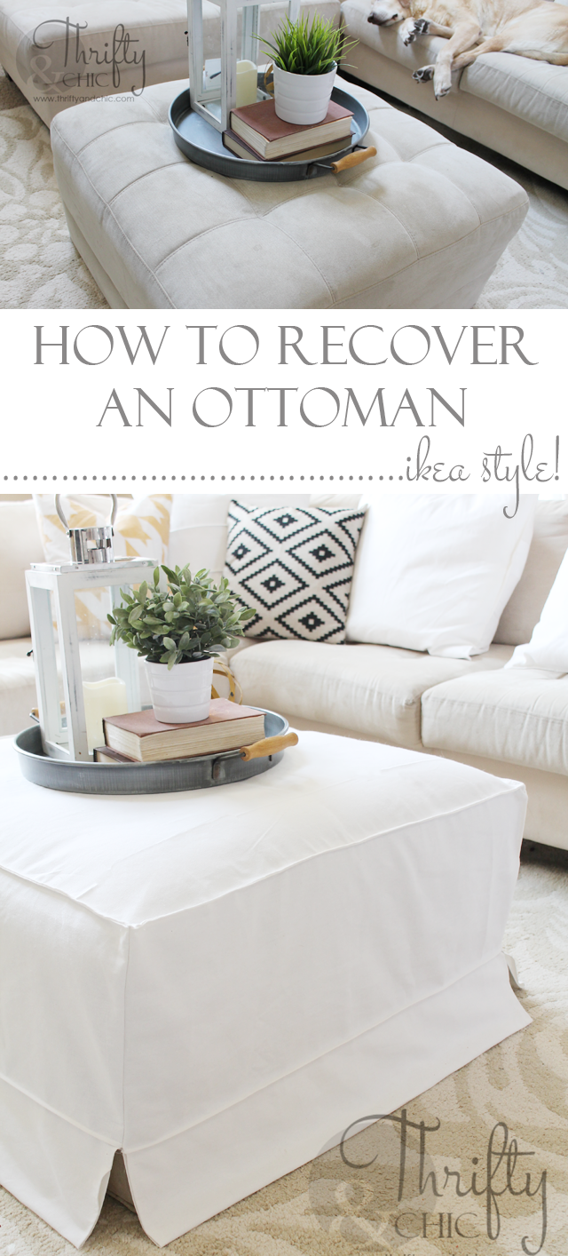 How to make a slipcover for an ottoman or coffee table. Great way to get that cute Ikea slipcover look! & How To Make A Slipcover For An Ottoman Or Coffee Table Ikea Style ...