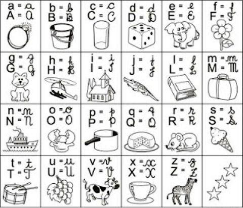 dibujos con las letras del abecedario para colorear  Escritura