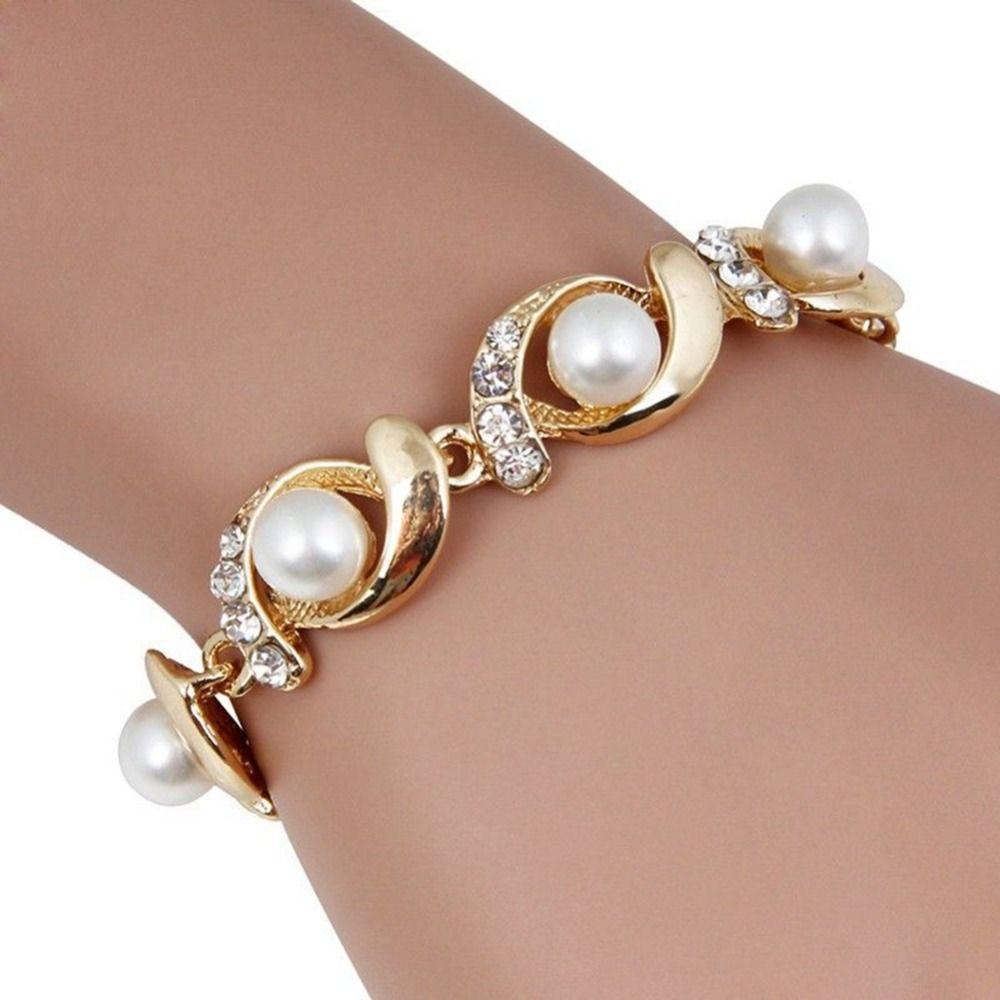 Top Kwaliteit Rose Gold Kleur Imitatie Parel Bedelarmband Mode-sieraden Groothandel Nieuwe Voor Vrouwen gift chakra bracelet  25