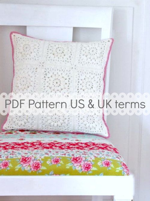 PDF Crochet Pattern - Popcorn & Lace Square Pillow - US and UK terms ...
