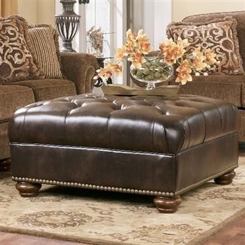 Presidio Antique Oversized Ottoman By Ashley Furniture Accent Ottoman Leather Living Room Furniture Furniture Large leather ottoman coffee table