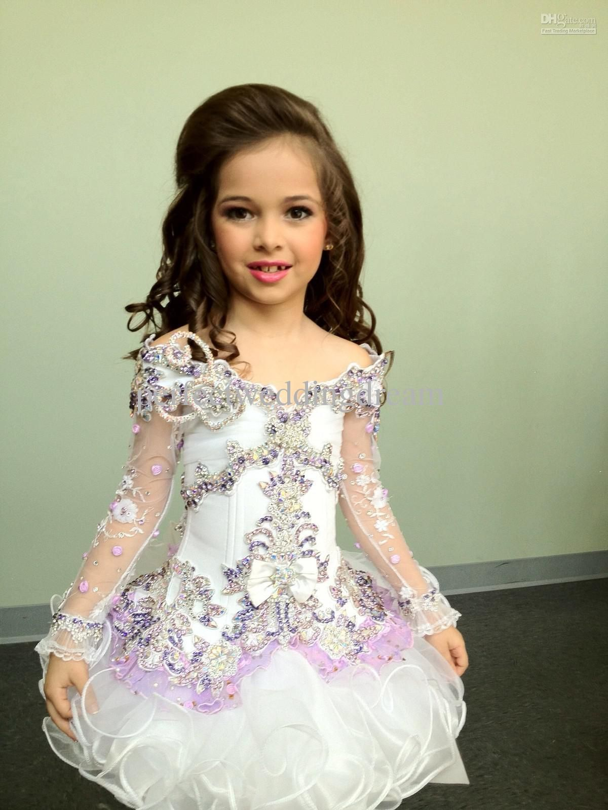 Glitz pageant dresses for rent - Beautiful High Glitz Flower Girl Pageant Dresses Cupcake Dress White Lavender Custom Made Flower Girl Occasion Gowns Angel Party Dresses