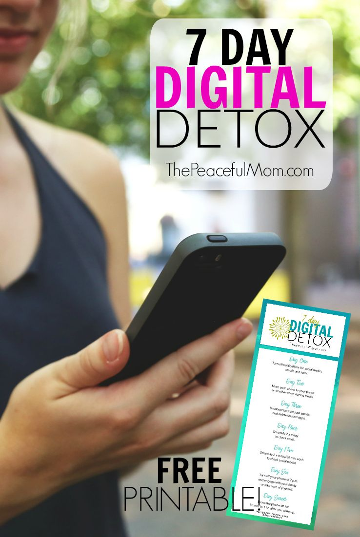 Feeling overwhelmed, scattered, exhausted? It may be your phone. Join me for a 7 day baby step plan to detox from your digital overwhelm and grab a free printable to remind you each day! -- from ThePeacefulMom.com