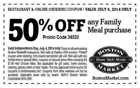 graphic relating to Printable Boston Market Coupons titled Boston [Retail store Locator] is marketing 50% Off Any