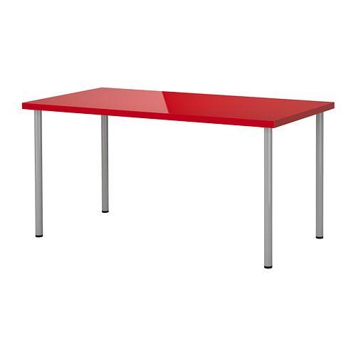 Linnmon adils tavolo lucido rosso color argento ikea - Ikea ufficio informazioni ...