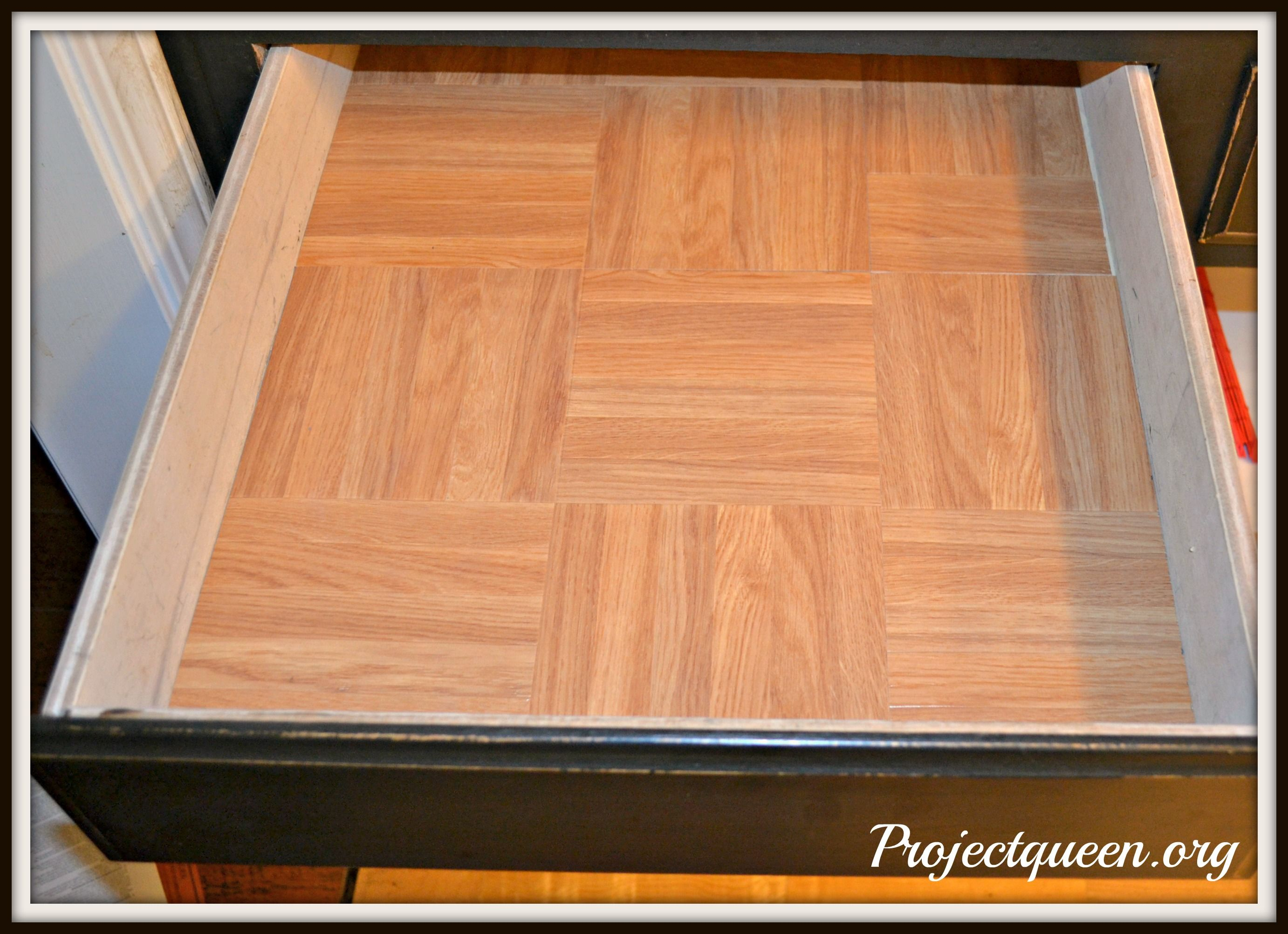 Line Your Drawers With Peel And Stick Linoleum Tiles Great Idea Inside Kitchen Cabinets